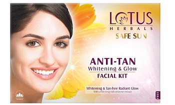 Lotus Safe Sun Anti Tan Whitening and Glow 4 in 1 Facial Kit