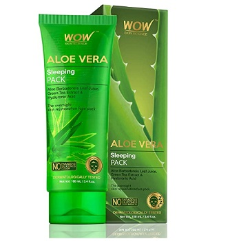 WOW Aloe Vera with Green Tea Extract and Hyaluronic Acid Sleeping Pack