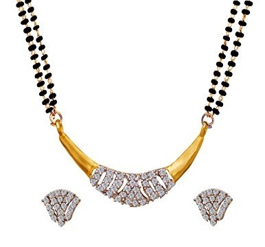 Arc shaped gold and diamond mangalsutra locket