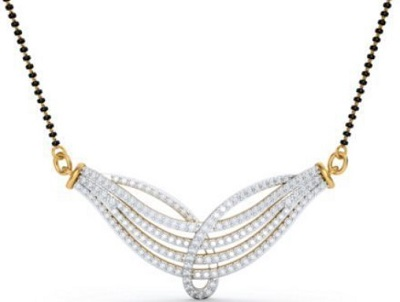 Beautiful diamond studded mangalsutra locket design
