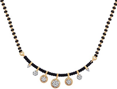 Black beads and Diamond with gold mangalsutra locket