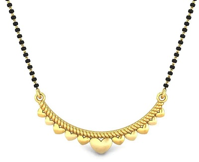 Delicate Hearts in Arc shape mangalsutra locket