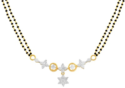 Diamond and gold everyday use mangalsutra pattern