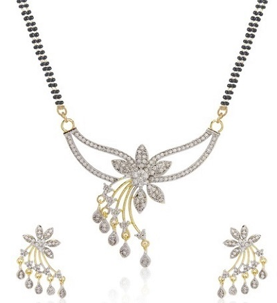 Diamond mangalsutra with matching earrings