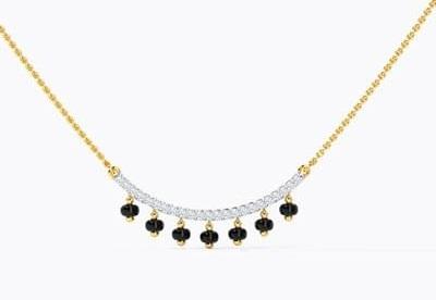 Diamonds and black beaded dainty locket for mangalsutra