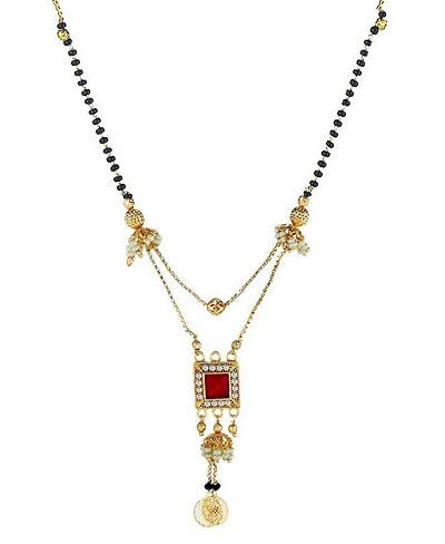 Double chain inspired mangalsutra locket design