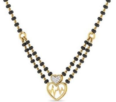 Heart and diamond embedded mangalsutra pattern