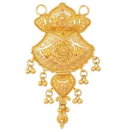 Heavy Gold Locket Design For Mangalsutra