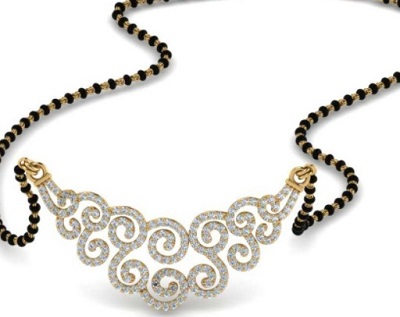 Spiral mangalsutra pattern with Diamonds