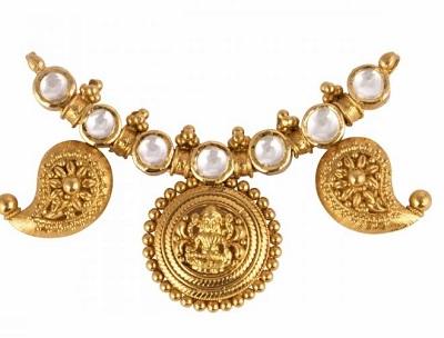Tamil mangalsutra locket pattern with Goddess Lakshmi