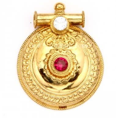 Traditional circular locket design for mangalsutra