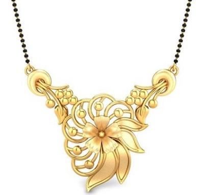Unique Gold only mangalsutra locket pattern