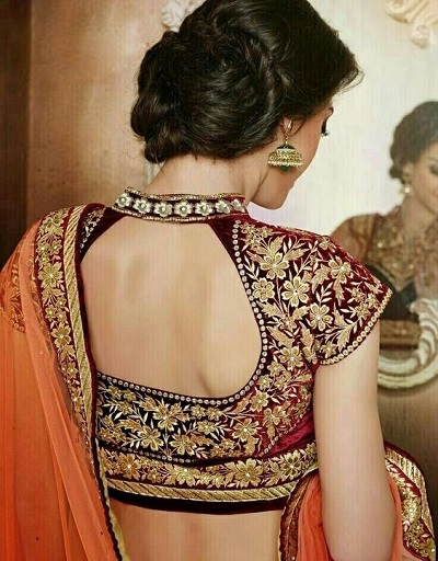 Backless Maroon embroidered velvet blouse