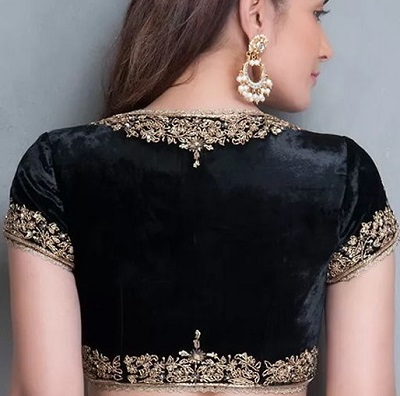 Black embroidered velvet party wear blouse
