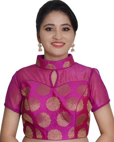 Brocade net collar blouse pattern