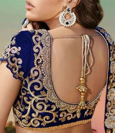 Deep back neck velvet blue blouse design