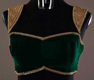Designer dark green velvet blouse with bead work