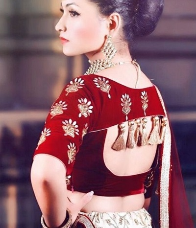 Designer red velvet embroidered saree blouse