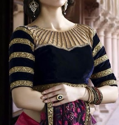 Designer velvet blue blouse for sarees and lehenga