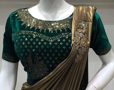 Embellished green velvet blouse for lehenga and sarees