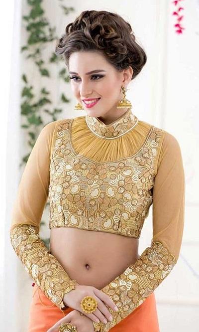Golden high neck collar full sleeve saree blouse design