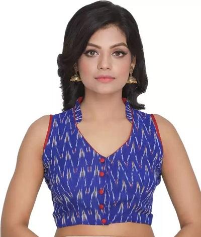 Half collar sleeveless cotton blouse design