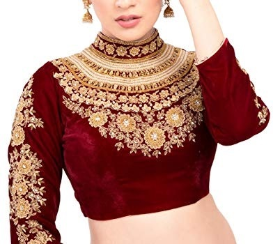 Highly embroidered full sleeves velvet red saree blouse