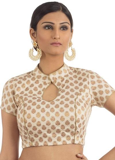 Ivory white high neck saree blouse with medium sleeves