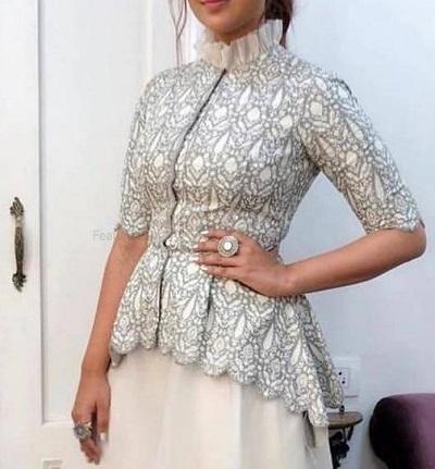 Long peplum collared Ruffle saree blouse design