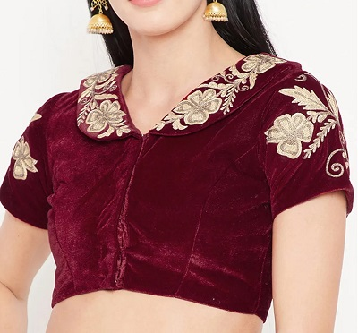 Maroon collared shirt sleeves velvet blouse