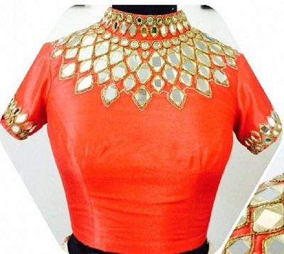 Mirror work collared orange saree blouse