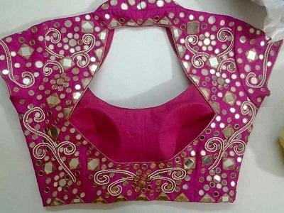 Mirror work collared saree blouse pattern