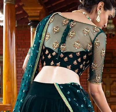 Net and velvet heavy embellished velvet lehenga blouse