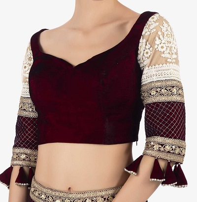 Net and velvet saree blouse design