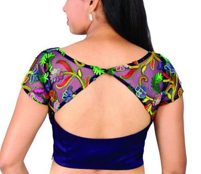Patchwork blue velvet blouse design