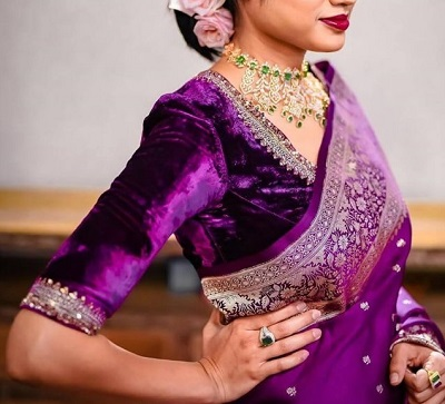 Purple velvet blouse for weddings