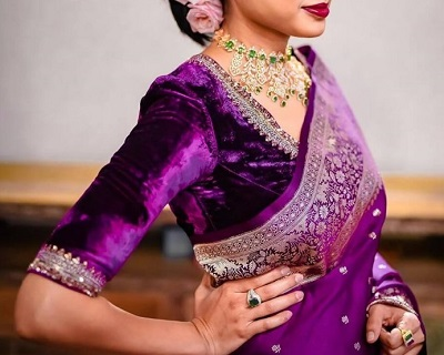 Royal purple velvet saree blouse design