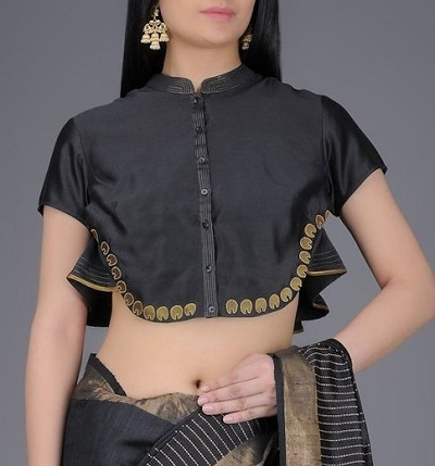Stylish designer front opening saree blouse with collar