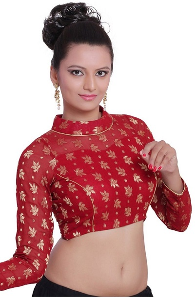 Stylish full sleeves Brocade Silk embroidered Blouse design