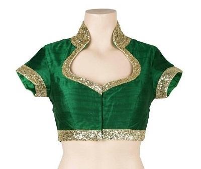 Sweetheart Neck Green Golden embellished saree blouse