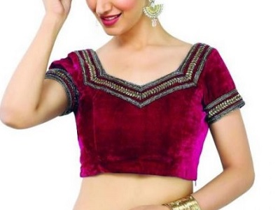 Velvet blouse with heavy border in pink